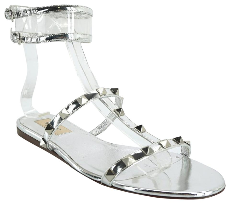 26e840fb80a8 Valentino Silver Metallic Leather Rockstud Moonwalk Strap Flat Sandals