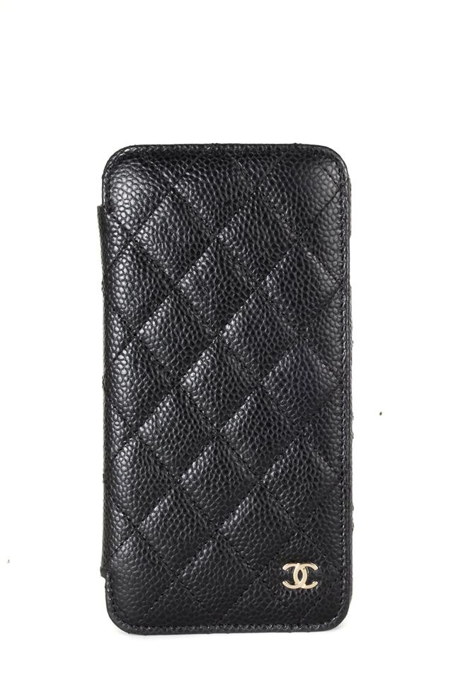 Chanel Black Caviar Leather Iphone Plus Phone Case Wallet ...