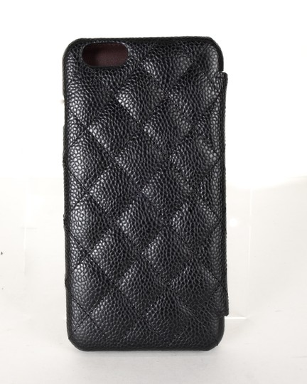 Chanel CHANEL Black Caviar Leather Iphone Plus Phone Case