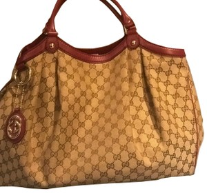 Gucci Tote in Biege/brown canvas with burgundy leather trim