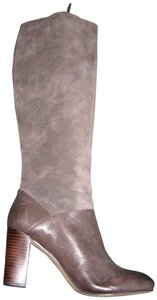 Elliott Lucca Suede Leather Knee High Zipper Gray Boots