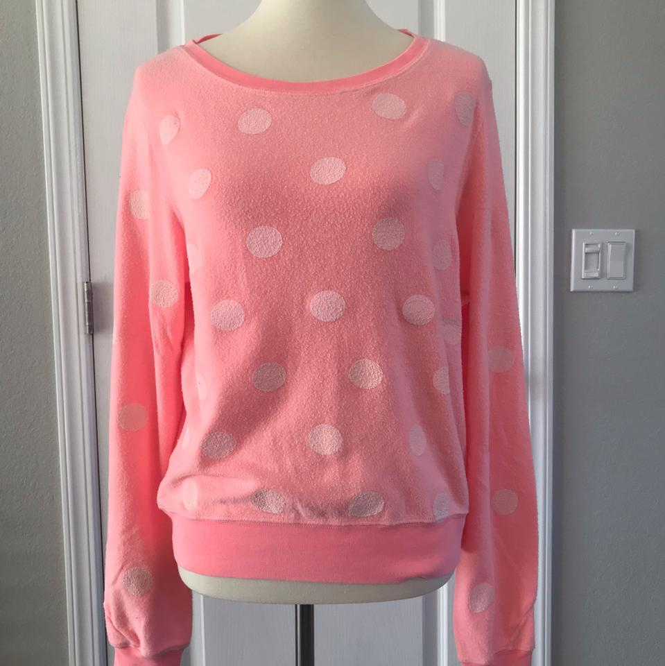 e94491656 Wildfox Couture Baggy Jumper Peach Pink with White Polka Dot Sweater ...