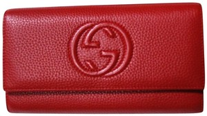 Gucci Authentic Gucci Soho Red Leather Continental Wallet Clutch