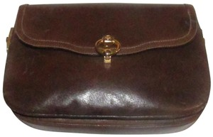Gucci Excellent Vintage Rare Early Multiple Compartment Leather/Gold Accents brown leather and gold hardware Clutch