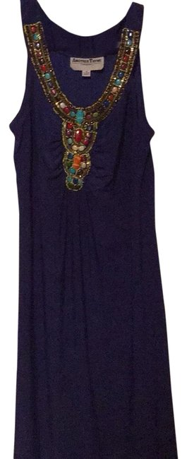 Item - Blue Beaded Sleeveless Mid-length Work/Office Dress Size 14 (L)