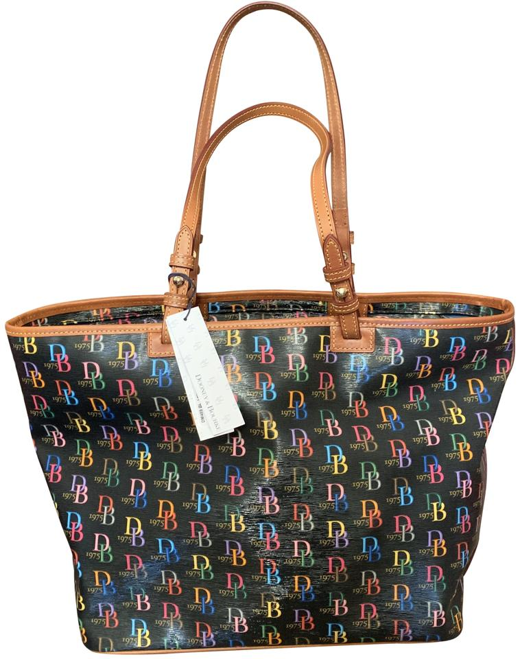 41f34c8f31 Dooney   Bourke Leisure Shopper Black with Multi Color Db Coated Canvas and  Leather Tote
