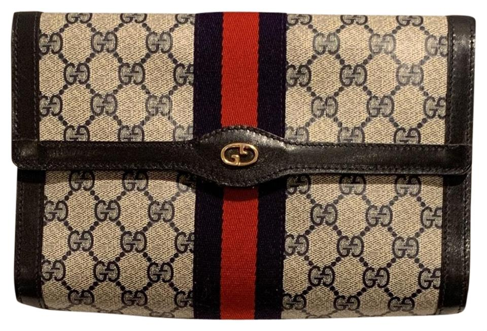 daae8433a8aa Gucci Vintage Monogram Signature Blue Leather Coated Canvas Clutch ...