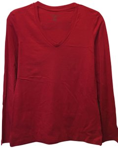 Lord & Taylor Cotton V-neck Long Sleeve New With Tags T Shirt Red