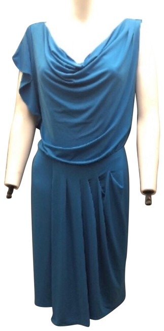 Item - Teal W New W/ Flutter Sleeve - Mid-length Night Out Dress Size 4 (S)