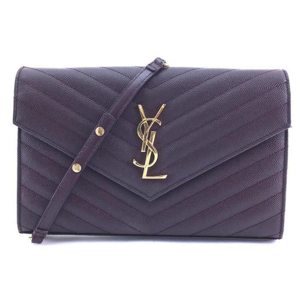8b0708cfb6 Saint Laurent Chain Wallet Rare Quilted Monogram Ysl Medium Chevron  Amaranto 868914 Purple Leather Cross Body Bag