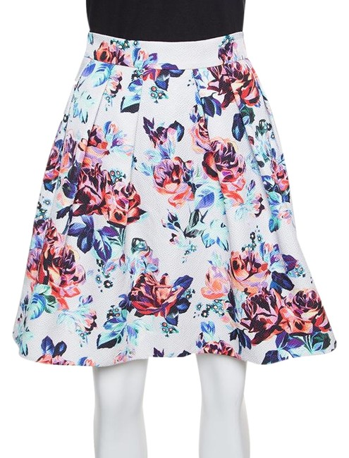 MARY KATRANTZOU Silk Pleated Cotton Mini Skirt Multicolor