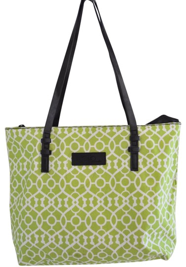 Preload https://img-static.tradesy.com/item/24434686/green-and-white-coated-canvas-leather-tote-0-1-540-540.jpg