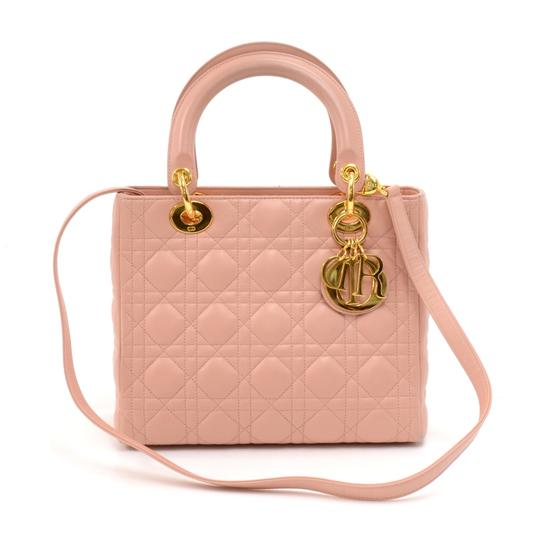 Preload https://img-static.tradesy.com/item/24434716/dior-lady-dior-vintage-christian-quilted-cannage-handbag-pink-leather-tote-0-0-540-540.jpg