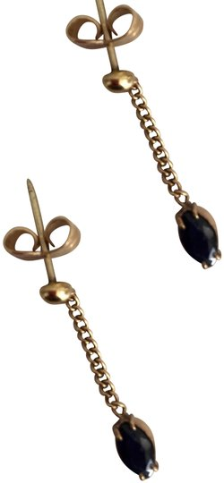 Stamped 14k Yellow Gold Sapphire Drop Dangling Chain Post Earrings