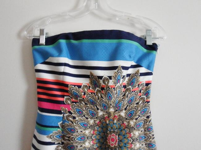 Laundry by Shelli Segal Multi-colored Striped Floral Design Strapless Dress
