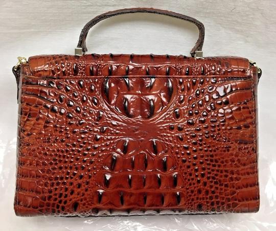 Brahmin Crocodile Crossbody Structured Business Satchel in Brown