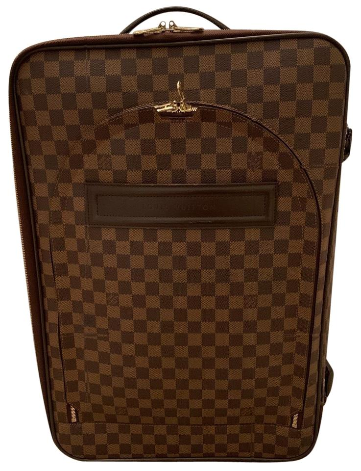 Louis Vuitton Pegase 55 Brown Leather Weekend Travel Bag 56% off retail 54efeed515a84