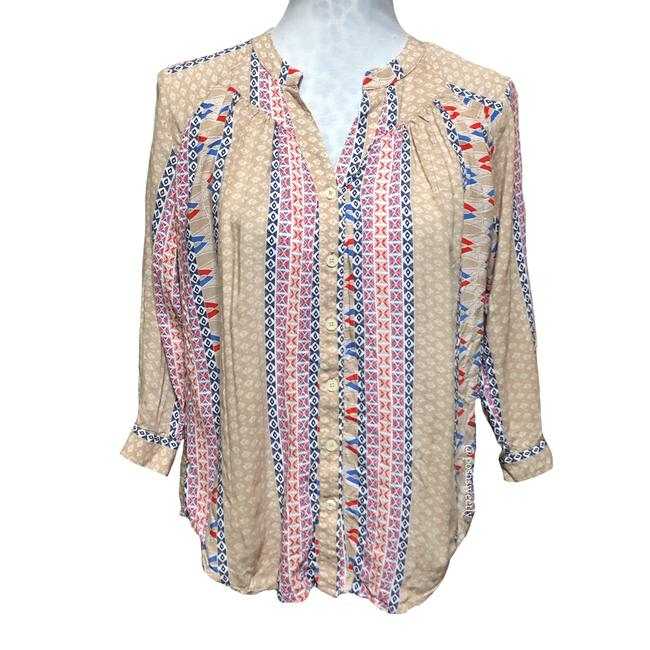 Preload https://img-static.tradesy.com/item/24434872/anthropologie-tan-red-navy-blue-printed-button-down-blouse-size-4-s-0-0-650-650.jpg