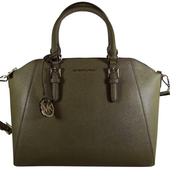 Preload https://img-static.tradesy.com/item/24434931/michael-kors-ciara-saffiano-olive-leather-satchel-0-1-540-540.jpg
