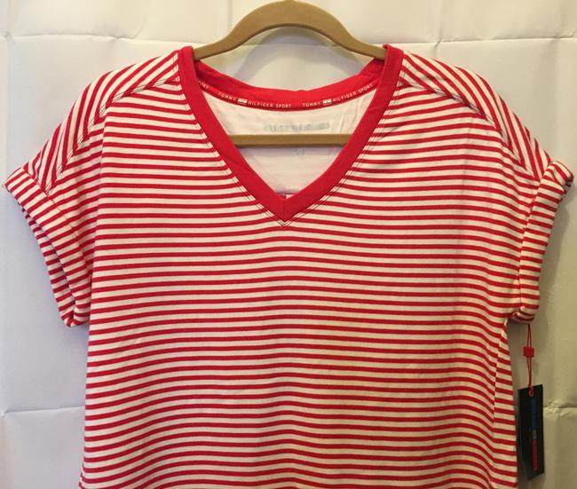 Tommy Hilfiger And White Stripe V-neck Size S/P 4 To 6 New With Tags T Shirt Red