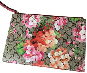 Gucci Gucci Blooms Large Suede and Canvas Pouch