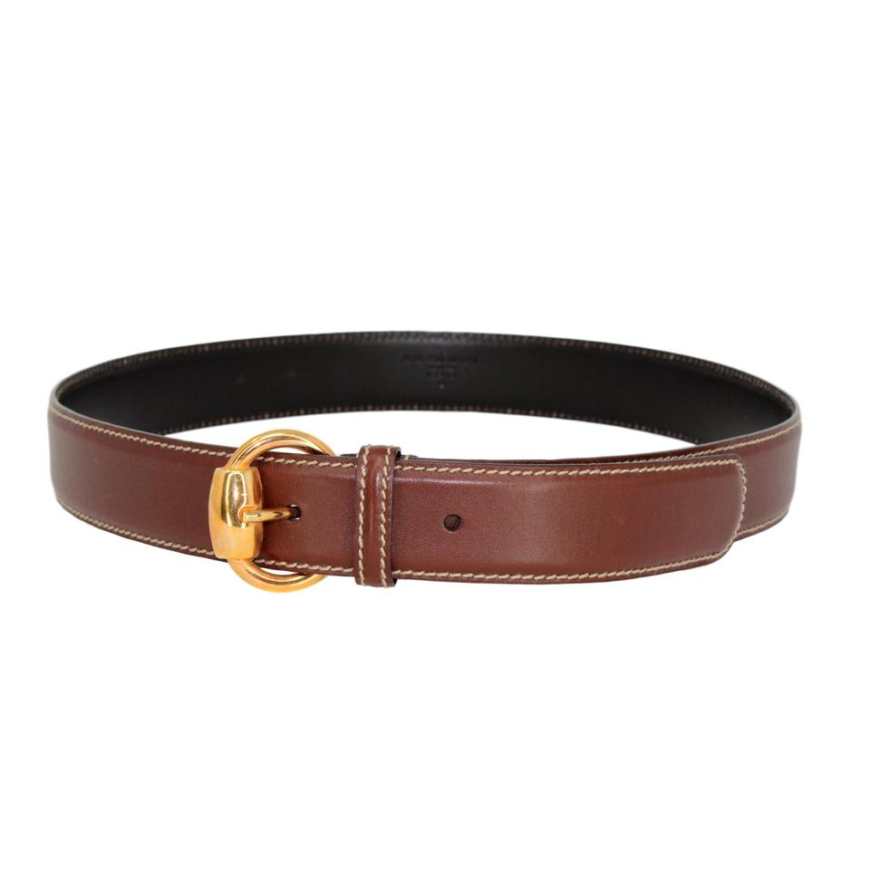 b9f42fd853607 Brown Soft Leather   Gold-tone Buckle - Size 90 36 Belt. GUCCI