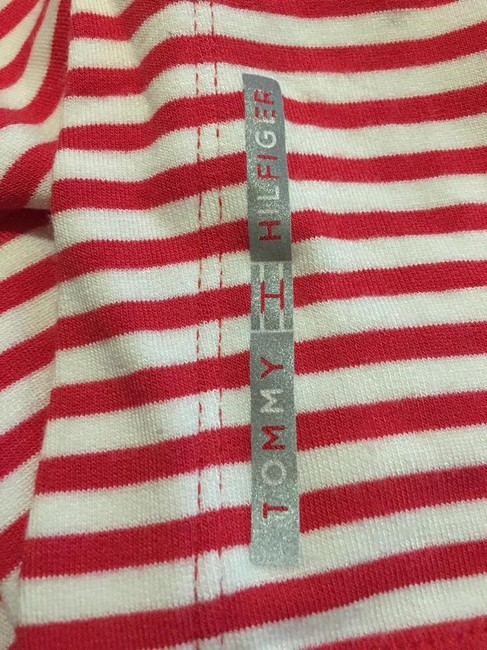 Tommy Hilfiger And White Stripe V-neck Size M 8 To 10 New With Tags T Shirt Red