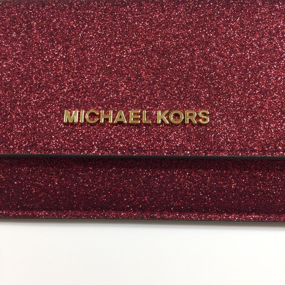 30d4f300788b Michael Kors Giftables Cranberry Red Glitter Metallic Leather Flat Wallet &  Clutch Image 8. 123456789