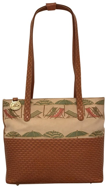 Item - Rare Embroidery Beach Umbrellas & Chairs Canvas Woven Beige Brown White Green Multi Leather Tote