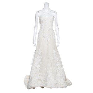 Vera Wang Cream Luxe Lace Applique Embellished High Low Formal Wedding Dress Size 8 (M)