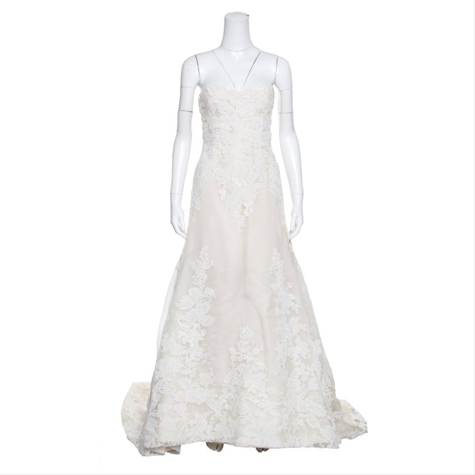 Vera Wang Cream Luxe Lace Applique Embellished High Low Formal
