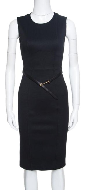 Preload https://img-static.tradesy.com/item/24435136/gucci-black-knit-fitted-sleeveless-belted-sheath-formal-dress-size-4-s-0-1-650-650.jpg