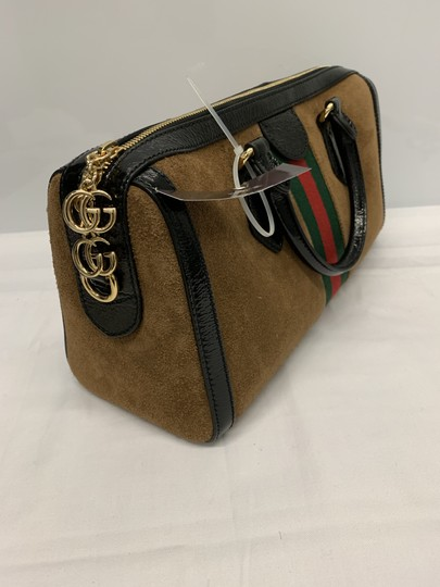 Gucci Ophidia Top Handle Suede Gg Marmont Marmont Satchel in Brown