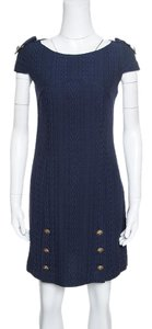 Versace short dress Navy Blue Cotton Polyester Viscose on Tradesy