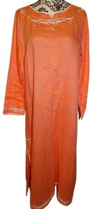 Peach Maxi Dress by Soft Surroundings Tunic Caftan Kaftan Mumu