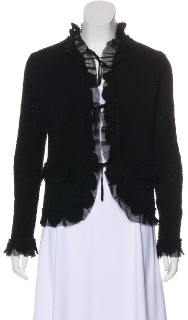 Preload https://img-static.tradesy.com/item/24435183/chanel-black-cashmere-mesh-trimmed-sweater-cardigan-size-6-s-0-1-650-650.jpg