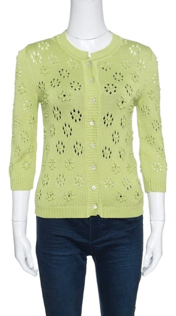 Preload https://img-static.tradesy.com/item/24435198/valentino-green-perforated-bobble-knit-cardigan-size-4-s-0-1-650-650.jpg