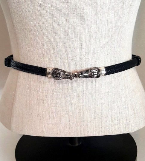 Chico's Chico's Women Belt Leather Silverplate Crocodile Alligator Buckle
