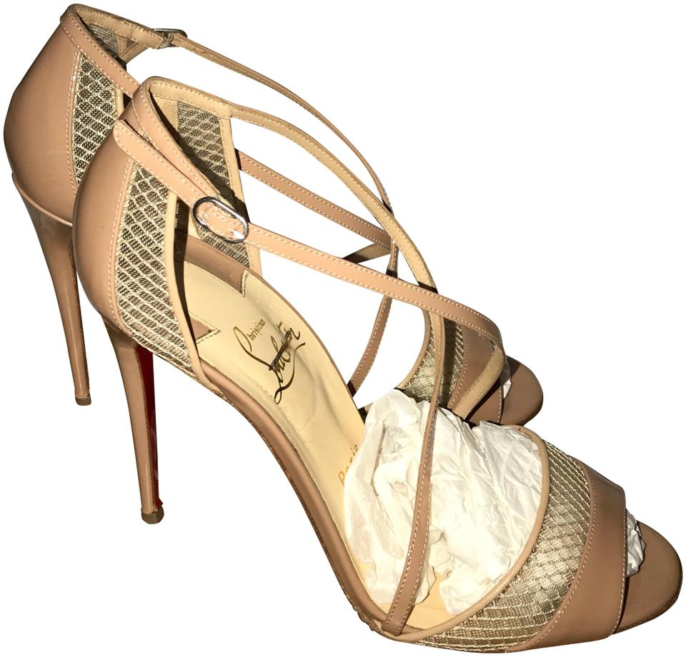 on sale 5cfd5 863cd Christian Louboutin Nude Slikova Mesh Patent Sandals Size US 7.5 Regular  (M, B) 30% off retail