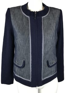 St. John Santana Knit blue Womens Jean Jacket