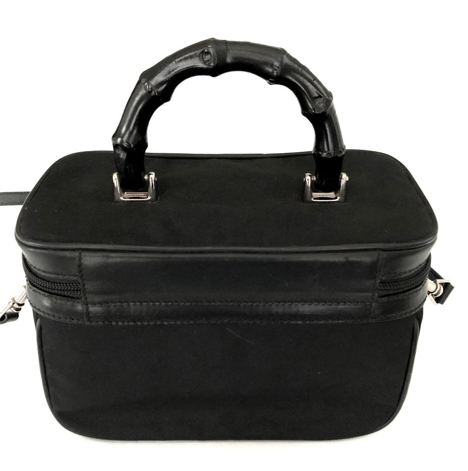 0423a7de543 Gucci Vintage Vanity Train Case with Bamboo Handle Euc Black Nylon Leather  Weekend Travel Bag