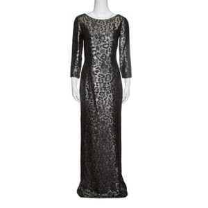 Gucci Metallic Silk Animal Pattern Lurex Jacquard Long Sleeve Gown S Casual Wedding Dress Size 6 (S)