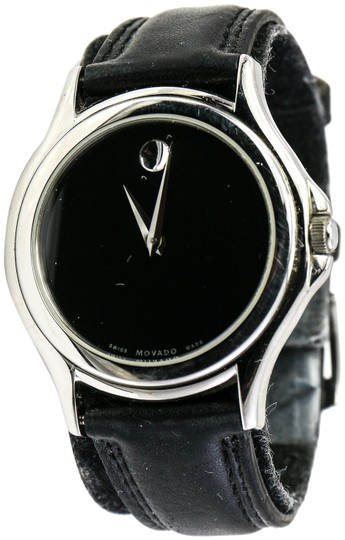 Preload https://img-static.tradesy.com/item/24435325/movado-stainless-steel-museum-black-leather-watch-0-1-540-540.jpg