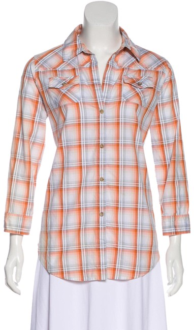 Preload https://img-static.tradesy.com/item/24435335/elizabeth-and-james-orange-plaid-button-up-button-down-top-size-8-m-0-1-650-650.jpg