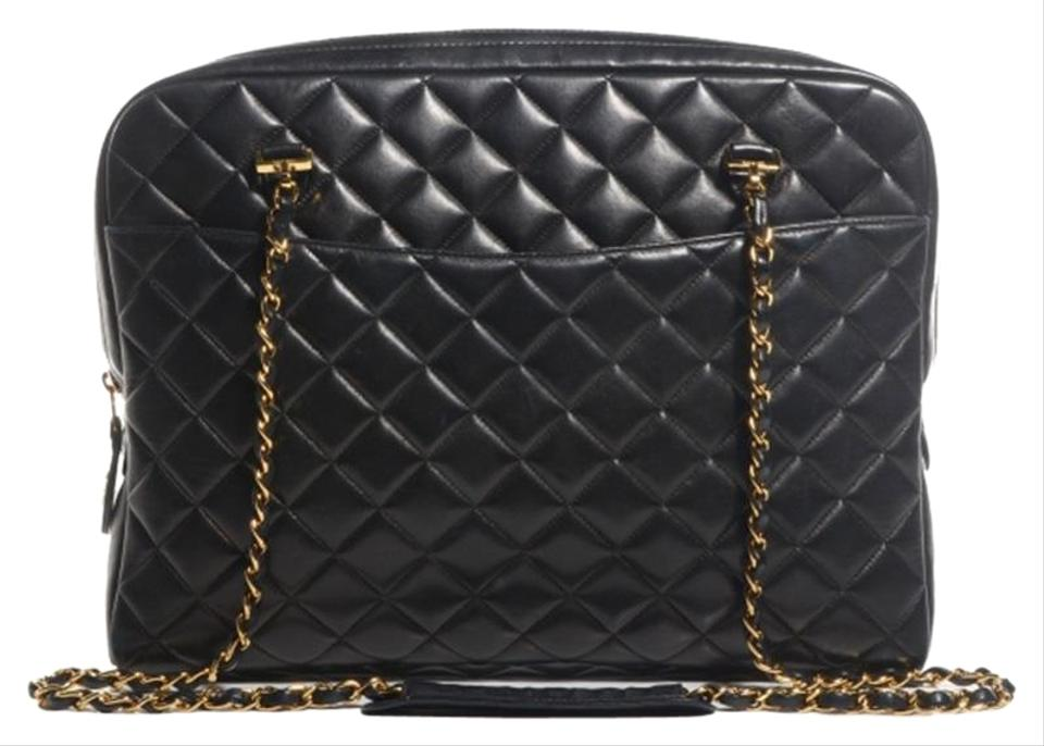 77746acac63992 Chanel Vintage Quilted Leather Tote Black Lambskin Shoulder Bag ...