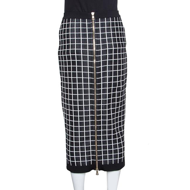 Balmain Monochrome Viscose Skirt Black