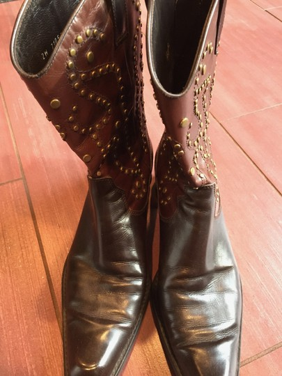 Stuart Weitzman Leather Cowboy Two Tone brown Boots