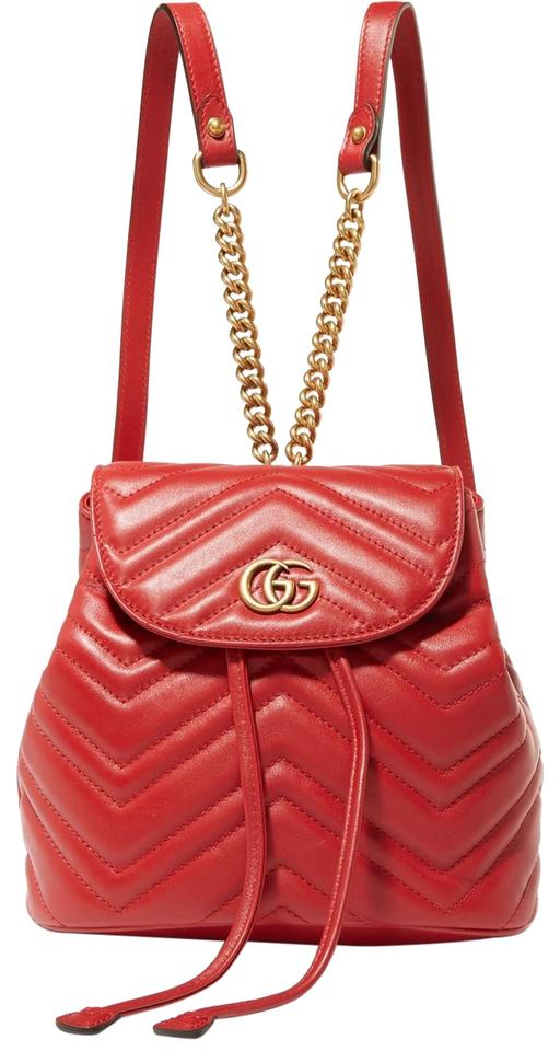 e5de0d471c1682 Gucci Marmont Gg Quilted Leather Red Backpack - Tradesy