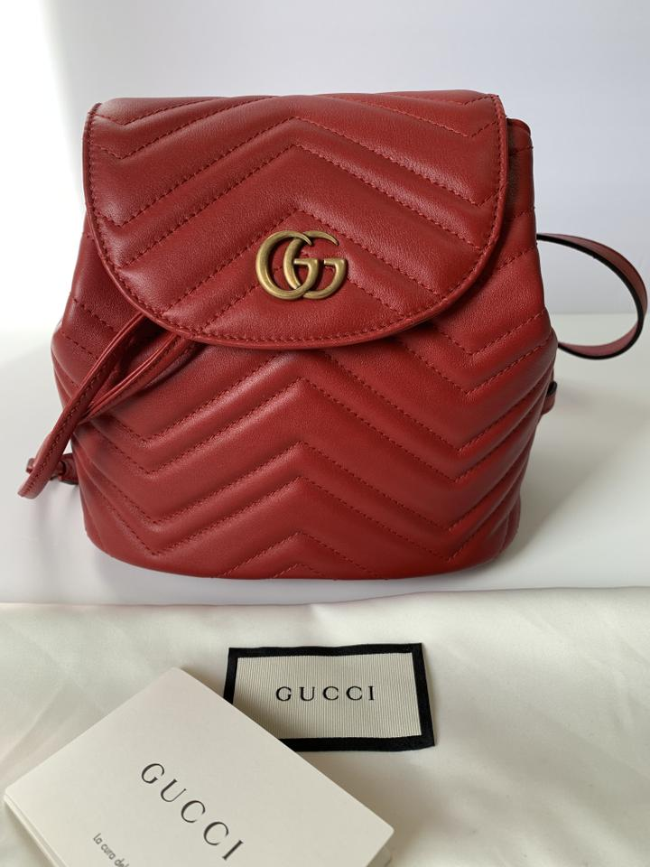 90ea03258df6 Gucci Marmont Gg Quilted Leather Red Backpack - Tradesy