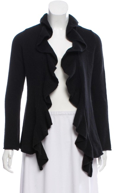 Preload https://img-static.tradesy.com/item/24435407/magaschoni-cashmere-ruffle-accented-cardigan-black-sweater-0-1-650-650.jpg